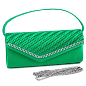 Dasein Pleated Flap Over Front Clutch Evening Purse w/ Rhinestone -Green