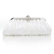 Pleated Satin Clutch, Ivory Evening Handbag, Great for Prom