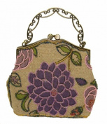 An Attractive Purple and Pink Flower Pattern Beaded Evening Handbag,tint Silver Base W/shoulder Drop -- #2