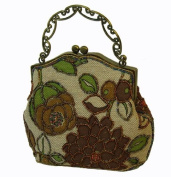 A Unique Beaded Evening Purse with Long Chain. Brown and Green, Flower and Leaves Pattern. Specail for Holiday Gift -- #4