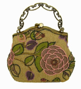 A Attractive Purple and Pink Flower Pattern Beaded Evening Handbag,tint Silver Base W/shoulder Drop -- #3