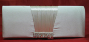 Ladies Ivory Satin Crystal Evening Party Clutch Handbag KCMODE