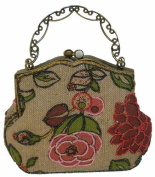 A Beaded Pink Flower and Tint Silver Base Evening Handbag with Long Chain. Best Gift Ideal in the Holiday Season. Unique ! -- #1