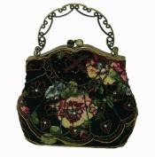 A Unique Beaded Evening Handbag W/shoulder Chain, Black Cloth Base W/beautiful Flower Pattern -- #3