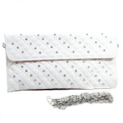 Dasein Dasein Rhinestone Studded Quilted Clutch Evening Bag -White