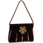 Dasein Classy Velvet Evening Bag Rhinestone Jewel Ornament Front -Brown
