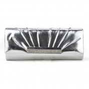 PU Leather Clutch, Silver Evening Handbag, Great for Prom