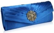 Womens Blue Diamante Flower Designer Evening Satin Clutch Bag