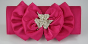 Ladies Pink Diamante Flower Satin Party Clutch Evening Bag KCMODE