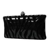 Black On Black Zebra Print Faux Patent Leather & Suede Clutch Evening Bag