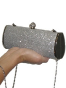 ICE (2314) metalic glitter diamante crown clutch tube bag evening party silver