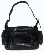 Genuine Leather Black Shoulder Purse