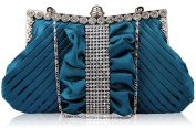 Teal Satin Rouched Ruffle Diamante Evening Clutch Bag KCMODE