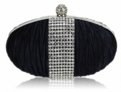 Ladies Navy Rouched Satin Clutch Diamante Evening Party Clutch Handbag KCMODE