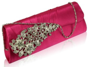 Ladies Pink Diamante Satin Rouched Clutch Evening Bag KCMODE