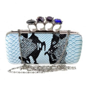 Snake Skin Evening Clutch Bag with Black Satin Crystal Ring Knuckle Duster Four Rings Party Night Club Bag