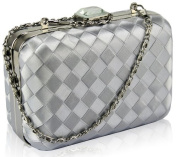 Silver Hard Case Clutch Evening Bag KCMODE