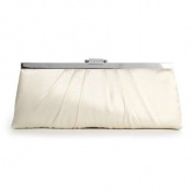 Sleek Framed Satin Wedding Purse - Ivory Satin with Silver Frame