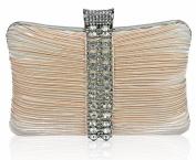 Womens Nude Crystal Strip Clutch Evening Bag Purse KCMODE