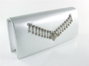 "Silver ""Tesia"" Crystal Evening Bag Bridal Jeweled Clutch Purse Handbag By Dikuza"