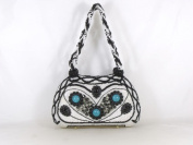 WF912-20 white with black Fully Beaded Handmade Evening Handbag Bag Purse