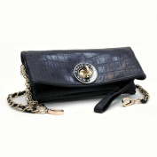 Dasein Elegant Croco Evening Clutch w/ Interchangeable Straps -Black