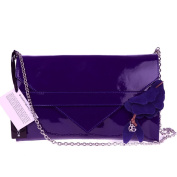 ROBERTA GANDOLFI Italian Navy Blue Patent Leather Evening Bag Clutch