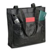 Embassy Italian Stone Design Genuine Leather Shopping/Travel Bag - Black