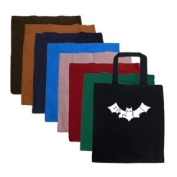 "Small Sapphire Bat Word Art Tote Bag - Created out of the words ""Bite Me"""