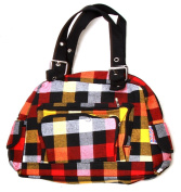 Clover Tote Pockets Style Hand Bag - Checkered Black/Red/Yellow With Britain Flag Tag