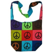Peace Sign Cotton Canvas Patch Bohemian / Hippie Sling Bag India