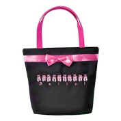 Danshuz Womens Girls Black Lined Up For Ballet Satin Finish Tote Bag