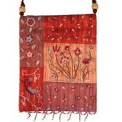 Yair Emanuel Flower Design Red Patched Applique Embroidered Bag