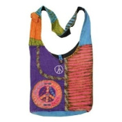 Recycled Razor Cut Peace Sign Cotton Bohemian / Hippie / Gypsy Sling Shoulder Crossbody Bag Nepal