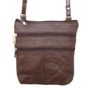 Genuine Leather Dark Brown Small Shoulder Cross Body Travel Mini Purse Bag
