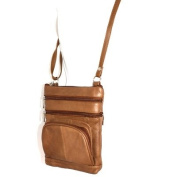 Genuine Leather Brown Shoulder Round Pocket Cross Body Bag
