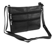 Expandable Black Nappa Leather Handbag