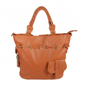 [Romantic Trip] Tan Leatherette Satchel Bag Handbag Purse Shoulder Bag Tote Bag w/Tassels