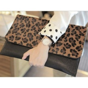 Lady's Leopard Print Pu Leather Envelope Clutch Purse Handbag Tote Shoulder Bag