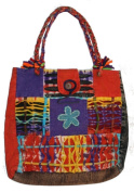 AT-116 Patchwork Cotton Knitted Tie Dye Short handle Bohemian Gypsy Tote Bag