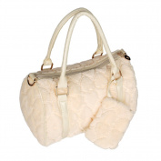 [Sweet Heart Cream] Princess Double Handle Leatherette Handbag Shoulder Bag Satchel Bag Purse
