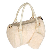 [Sweet Heart Cream] Princess Double Handle Leatherette Handbag Shoulder Bag Satchel Bag Purse