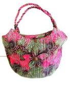 Pink Purse Cotton Handbag Indian Shoulder Bag Messenger Boho Bag -BALI BATIK