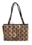 Brown Beige Sing Hand Bag Boho Indian Purse Handbag Shoulder Bag - Handmade