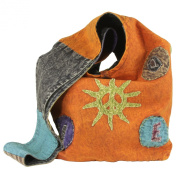 Earth Divas WCB-004 Stonewashed Patchworked Cotton Young and Fun Women's Shoulder Sling Handbag, Orange/Green