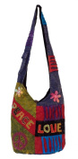Peace Love Hippie Patchwork Bag - Shoulder / Sling Bag with Embrodiered Peace Love