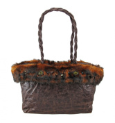 Distressed Brown Vinyl Faux Fox Fur Jeweled Handbag