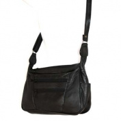 Soft Black Genuine Leather Medium Shoulder Multi-Purpose Messenger Organizer Bag