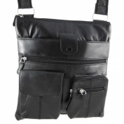 Black Nappa Leather Flat Satchel Shoulder Bag Purse