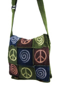 Olive Green Cotton Patchwork Crossbody Purse Peace Sign Spirals